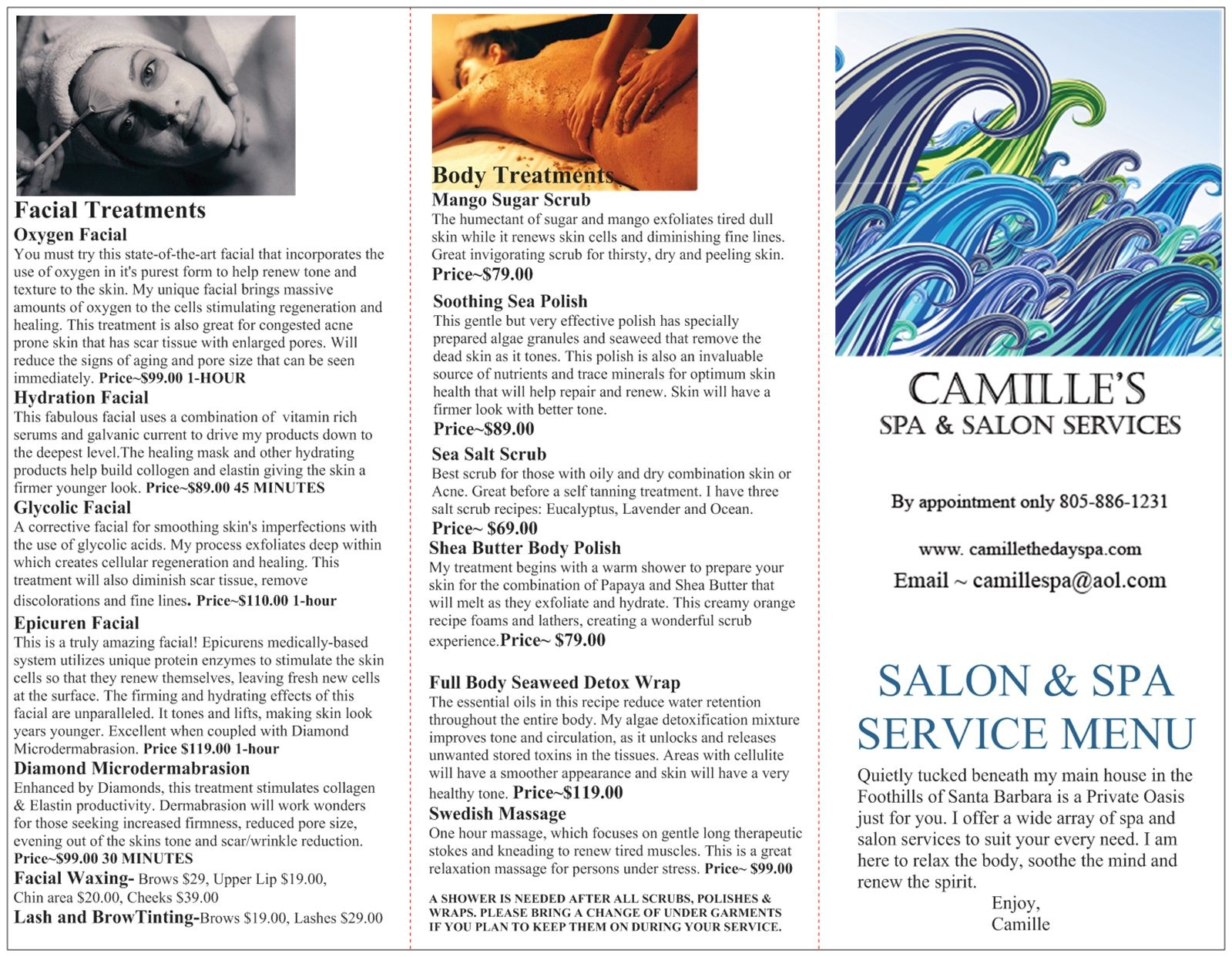 Gift certificates and menu of camille 39 s spa salon for About salon services